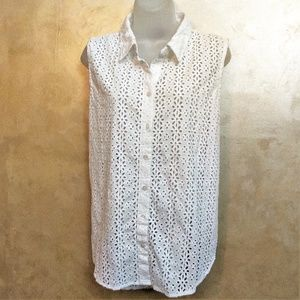 Chico''s Eyelet Blouse Like New L XL